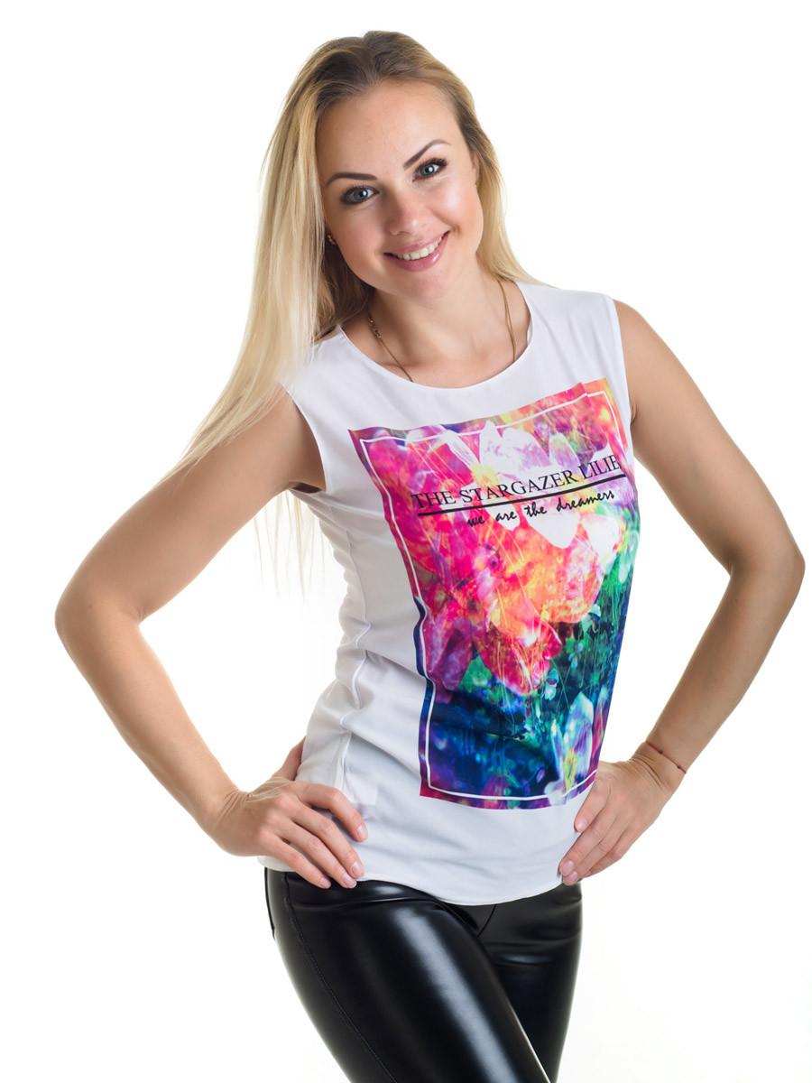 Женская блуза принт без рукава AA2062f