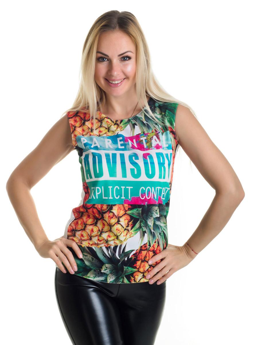 Женская блуза принт без рукава AA2068f
