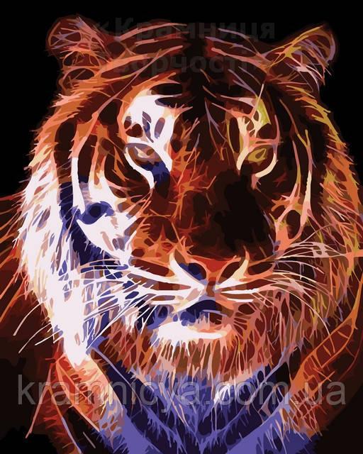 Картина по номерам 40х50 Огненый тигр (AS0073)