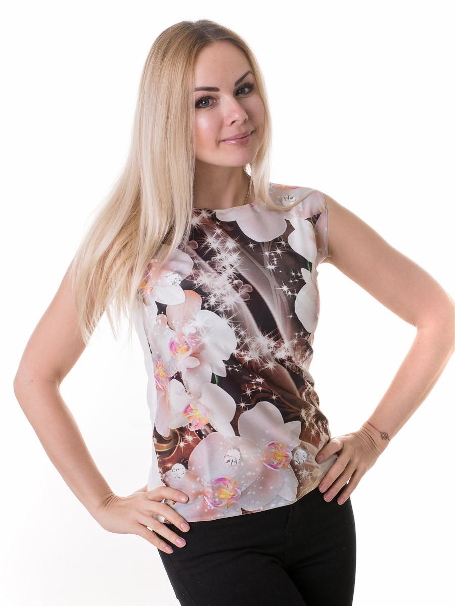 Женская блуза принт без рукава AA2089f