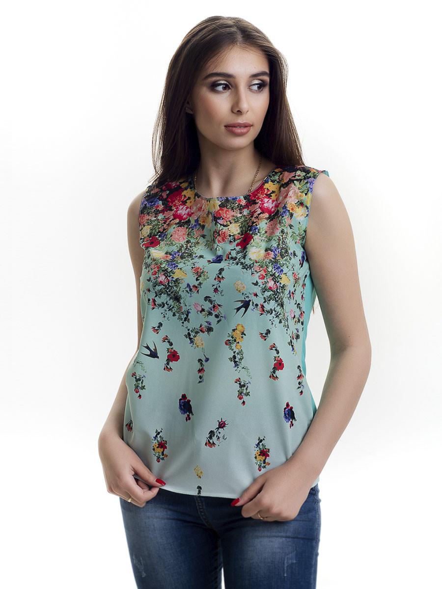 Женская блуза принт без рукава AA2090f