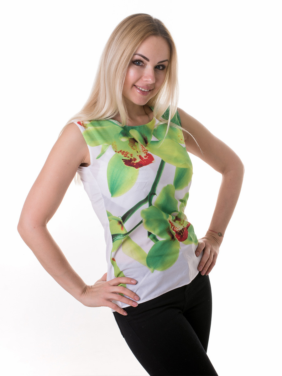 Женская блуза принт без рукава AA2093f