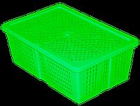 Ящик универсальный с крышкой «Сетка» цвет лайм