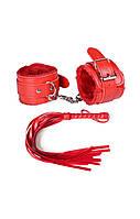Красный набор для игр БДСМ наручники и плетка А-1136