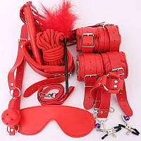 Красный комплект для ролевых игр БДСМ 10 предметов А-1139