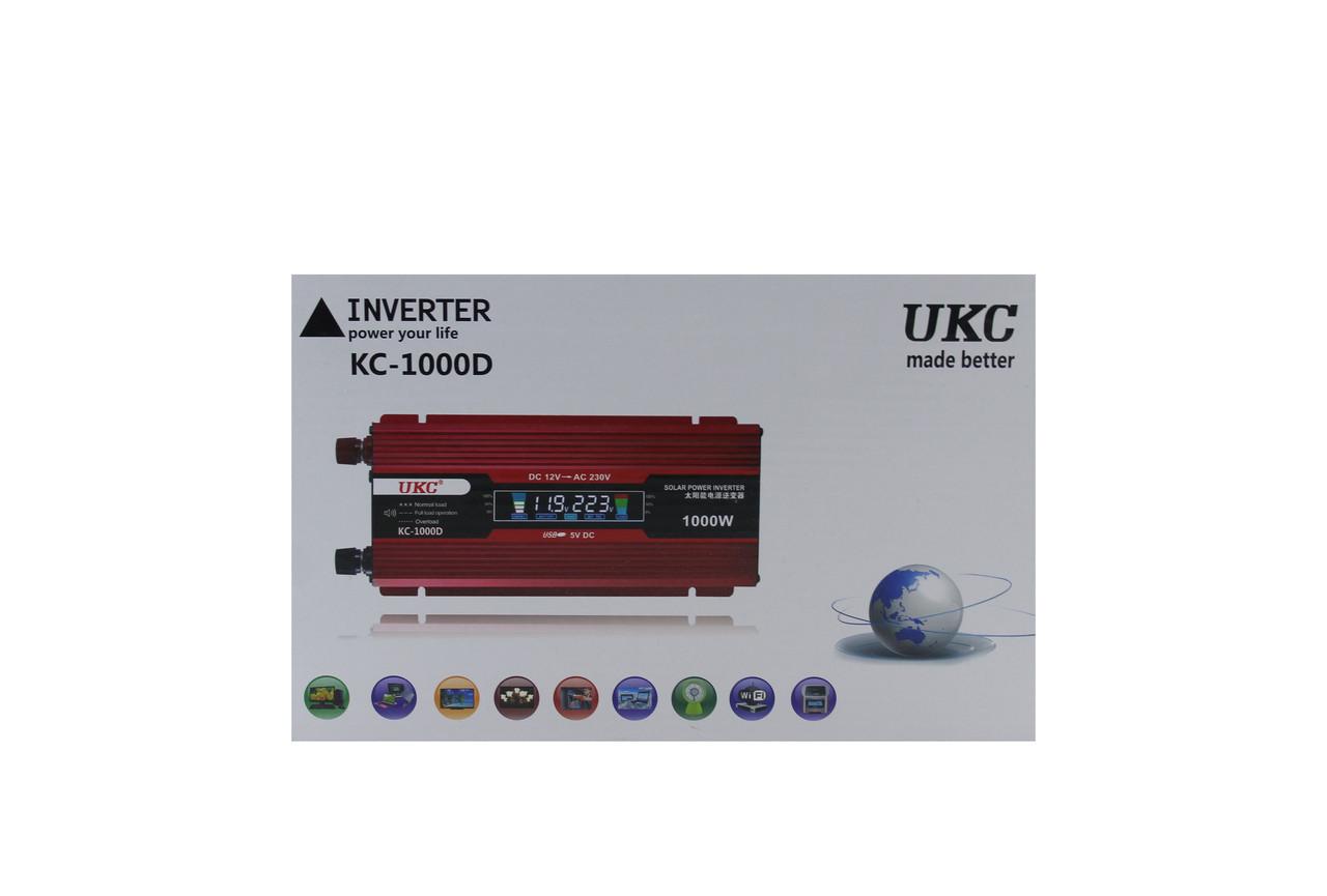 Преобразователь тока AC/DC UKC 1000W KC-1000D с LCD дисплеем (40) в уп. 40 шт.