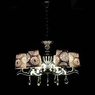 Современная классическая люстра на 6 лампочек СветМира с LED подсветкой рожков  VL-89686/6 (хром)