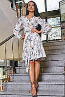 ✔️ Сукню на запах з поясом 42-48 розміру біле з кавовими ліліями, фото 1