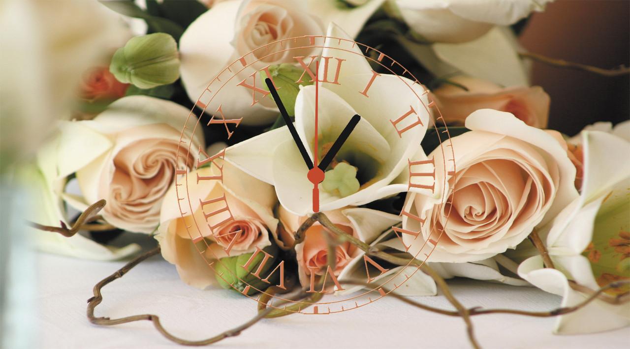 """Часы настенные стеклянные """"Нежные розы"""""""