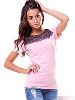 Красивая женская футболка с гипюром (S-3XL в расцветках), фото 1