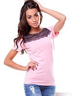 Красивая женская футболка с гипюром (S-3XL в расцветках)