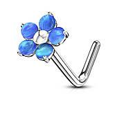 Пірсинг в ніс «Блакитний опал»