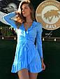 Платье мини с воланами на запах голубое в белый горох, фото 2