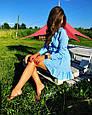 Платье мини с воланами на запах голубое в белый горох, фото 4
