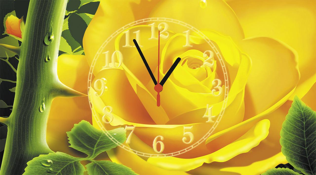 """Годинники настінні скляні """"Жовта троянда"""""""