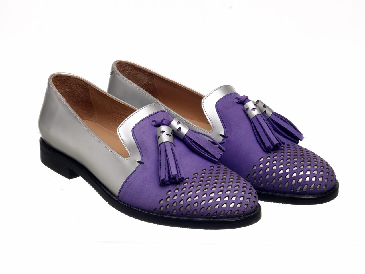Лофери Etor 5411-525-323-1 сріблястий+фіолетовий