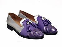 Лофери Etor 5411-525-323-1 сріблястий+фіолетовий, фото 1
