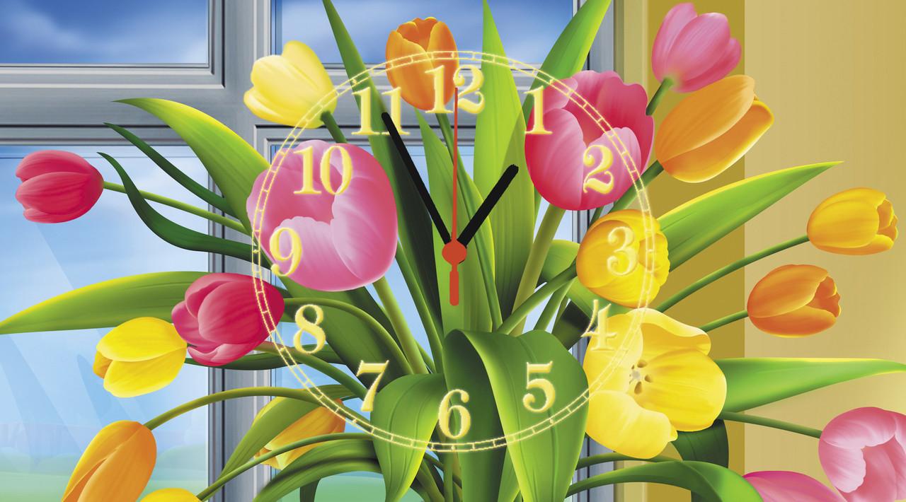"""Часы настенные стеклянные """"Букет тюльпанов"""""""