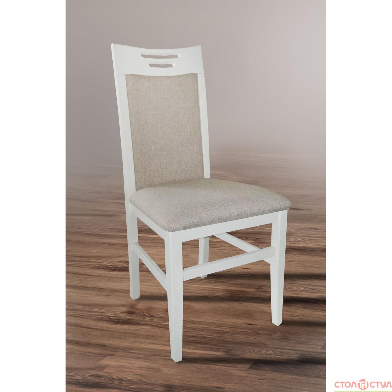 Обідній стілець з масиву дерва -Юля (АВАНГАРД) білий, ваніль