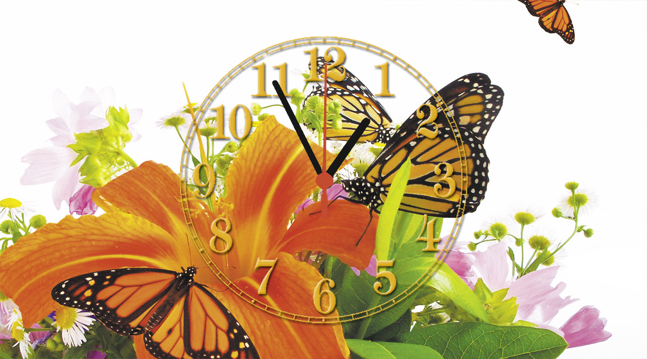 """Годинники настінні скляні """"Метелики на лілеї"""""""