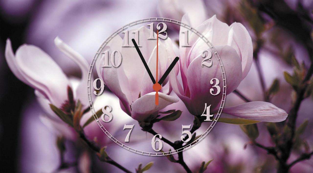 """Часы настенные стеклянные """"Ветка магнолии"""""""