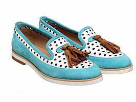 Лоферы Bertan 5469-525-1329 бело-голубые