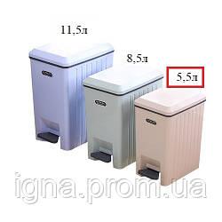 Ведро мусорное пластик с педалью и крышкой микролифт 5.5л 236817 (18шт)