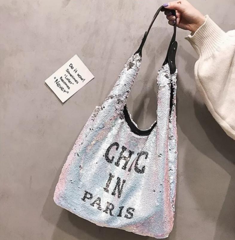 Пляжная сумка с пайетками серебро 10022