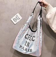 Пляжная сумка с пайетками серебро 10022, фото 1