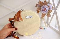 Женская сумочка в стиле Dovili Milano круглая молочная