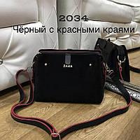 Женская сумочка в стиле Zara черная с красными краями