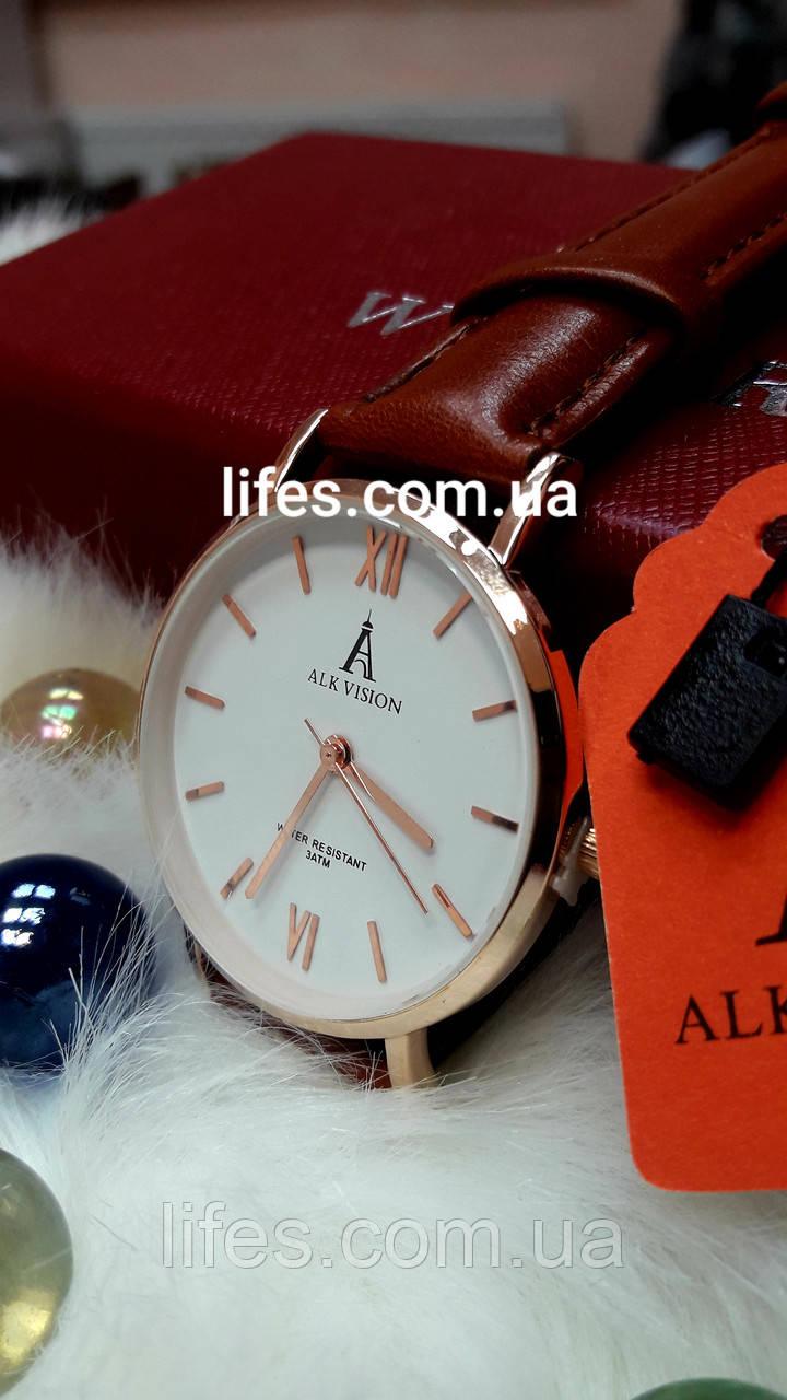 Часы женские ALK VISION Коричневый ремешок