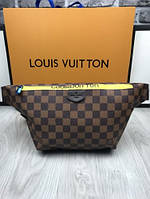 Стильная женская сумка-бананка Louis Vuitton коричневая поясная сумка экокожа унисекс Луи Виттон люкс реплика