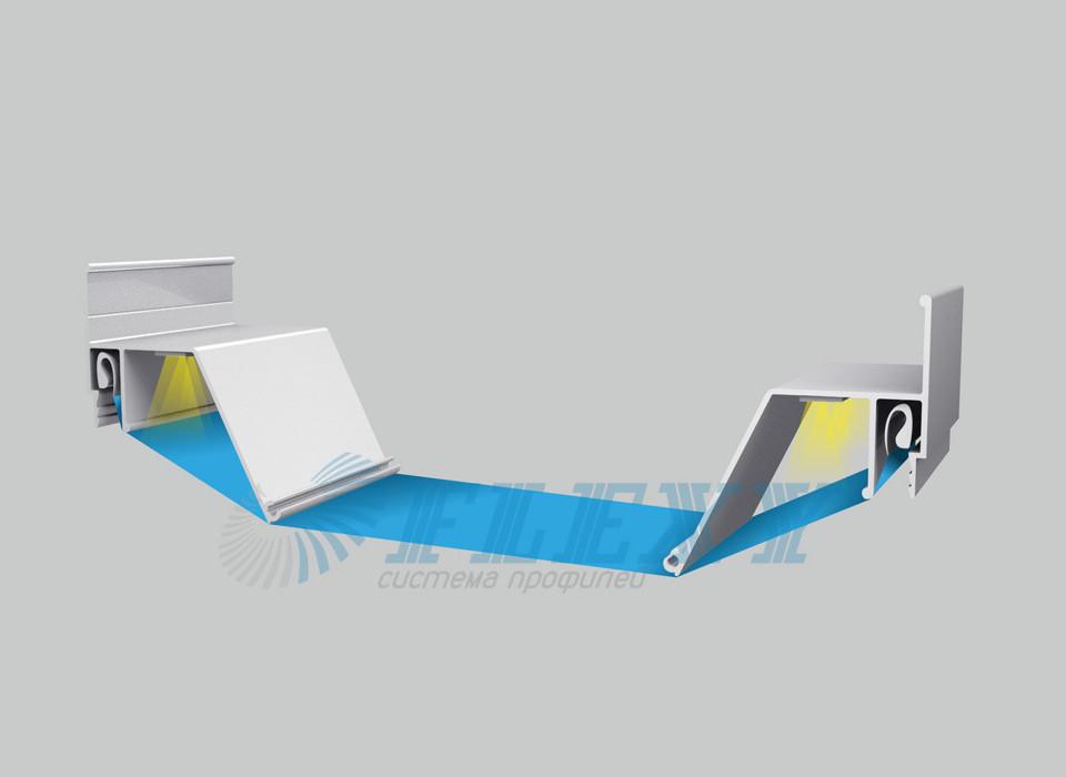 """Профіль алюмінієвий для натяжних стель ПФ6488 """"Контурний 3D"""""""