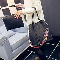 Набор - женская сумка и клатч серый