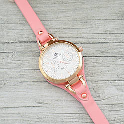 Часы G085 диаметр циферблата 3.2 см длина ремешка 16-20 см розовый цвет позолота РО