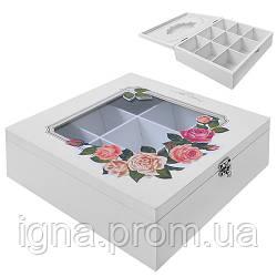 """Коробка для хранения чая """"Розы"""" 9отд R87216 (24шт)"""