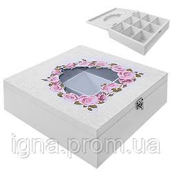"""Коробка для хранения чая """"Розы"""" 9отд R87217 (24шт)"""
