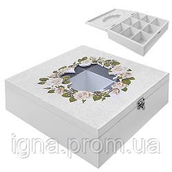 """Коробка для хранения чая """"Розы"""" 9отд R87218 (24шт)"""