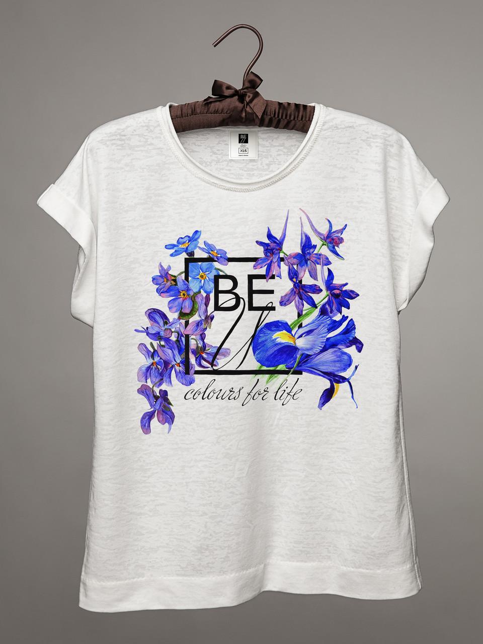 """Футболка женская BEU logo """"Flowers for life"""" / Цветы"""