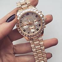 Женские кварцевые наручные часы Michael Kors Full Diamond, Gold, фото 1