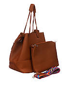 Набор - женская сумка и клатч в коричневом цвете