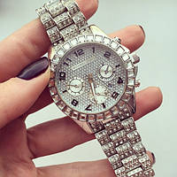 Женские кварцевые наручные часы Michael Kors Full Diamond, Silver, фото 1
