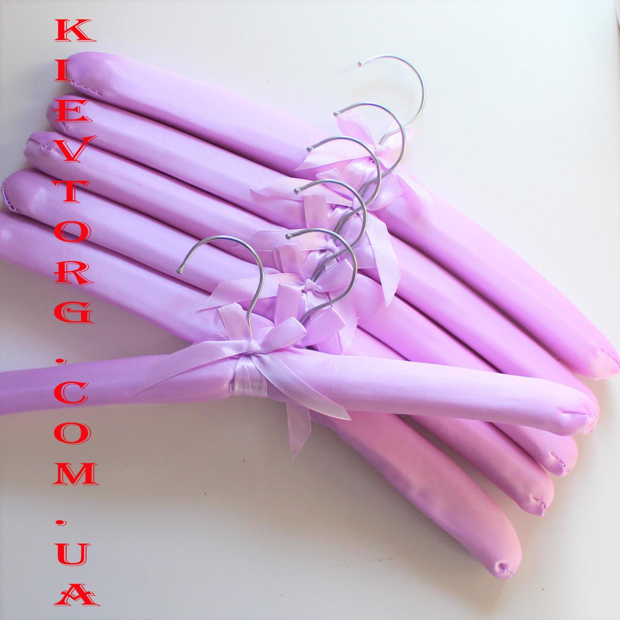 Плечики вешалки тремпеля атласные тканевые для деликатной одежды сиреневые, 6 шт