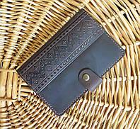 Кожаная обложка для документов Этно орнамент коричневый 9.5*13.5см