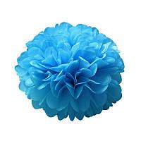 Набор бумажных помпонов 10 шт, большие 30 см голубой