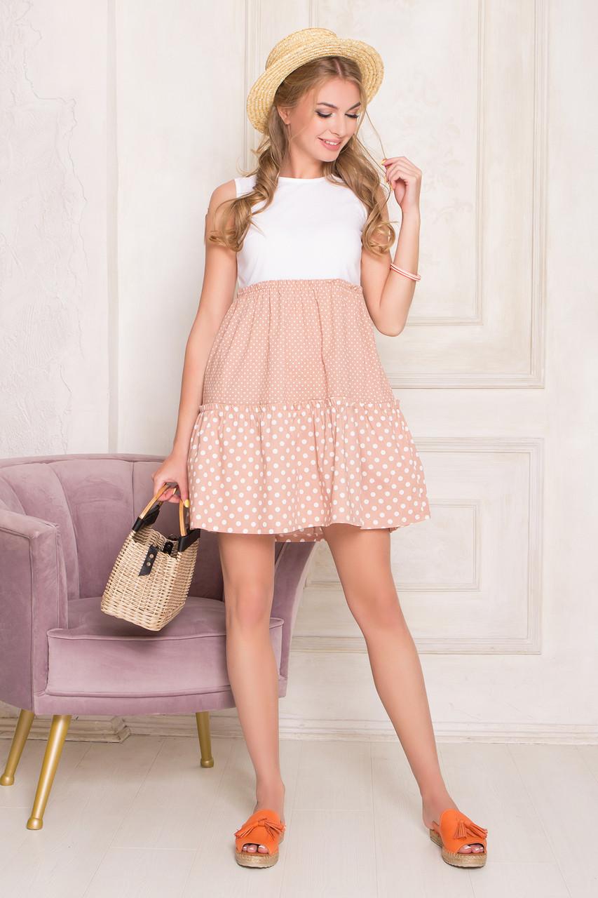 59155902062db0 Жіноче повсякденне плаття, кольору капучино, у горошок, літнє, святкове,  молодіжне,
