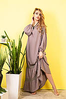 Стильное Летнее Платье из хлопка код 417-капучино