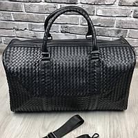 VIP дорожная сумка Bottega Veneta черная кожаная Люкс сумка Боттега Венета Трендовая Красивая реплика, фото 1
