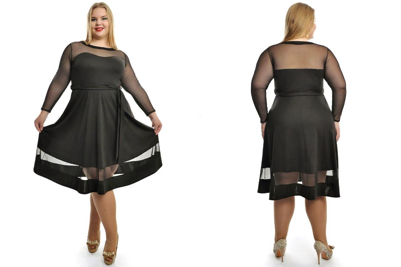 e74b0b4271e Женское красивое трикотажное платье больших размеров с сеткой №687 48-62 р
